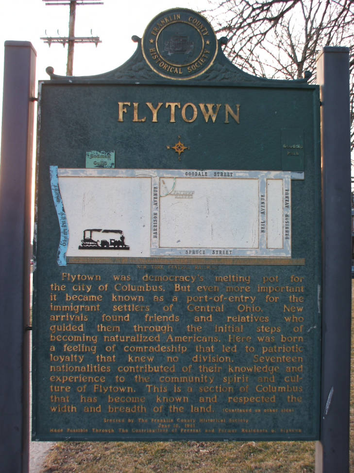Historical plaque recognizing Flytown